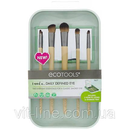 EcoTools, Набір кистей для макіяжу очей, 5 кистей і контейнер для зберігання, фото 2