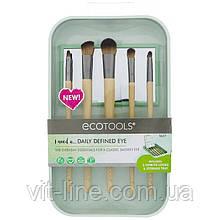 EcoTools, Набор кистей для макияжа глаз, 5 кистей и контейнер для хранения