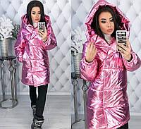 Женская зимняя куртка пуховик  на запах одеяло металлик foil с капюшоном зефирка