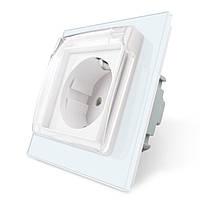 Розетка с защитной крышкой Livolo, влагозащищенная розетка, цвет белый, стекло (VL-C7C1EUWF-11)