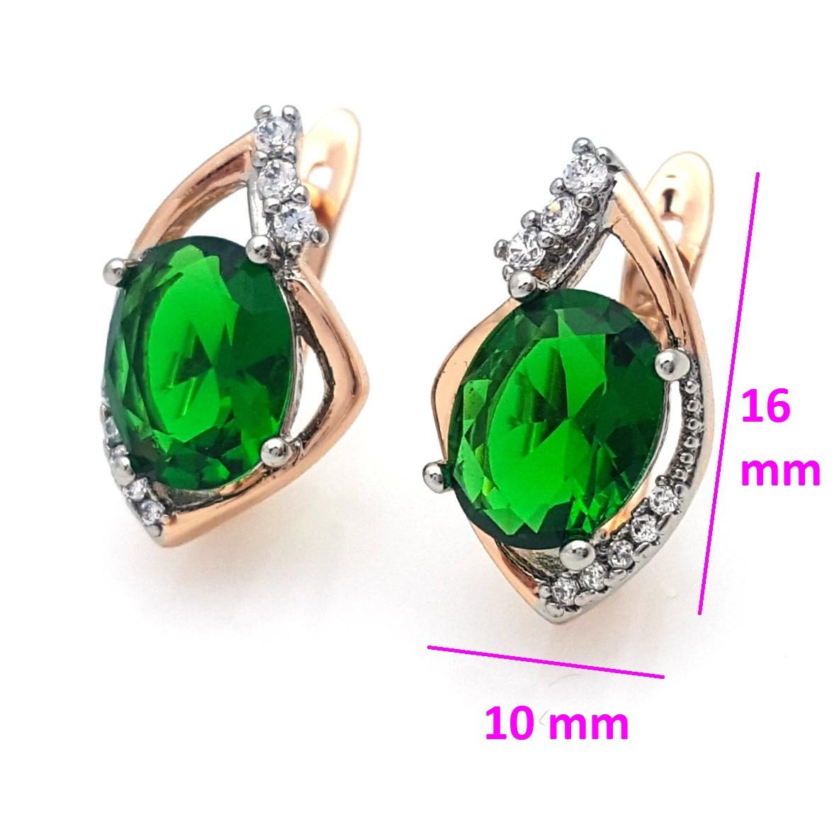 Сережки Зелений цирконій, англ.замок, позолота+родій, 14К