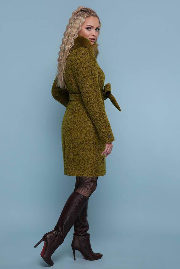 Зимнее пальто с меховым воротником хаки, фото 2
