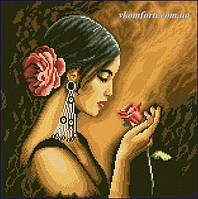 Набор для рисования камнями на холсте  Испанка с цветком  39 х 39 см