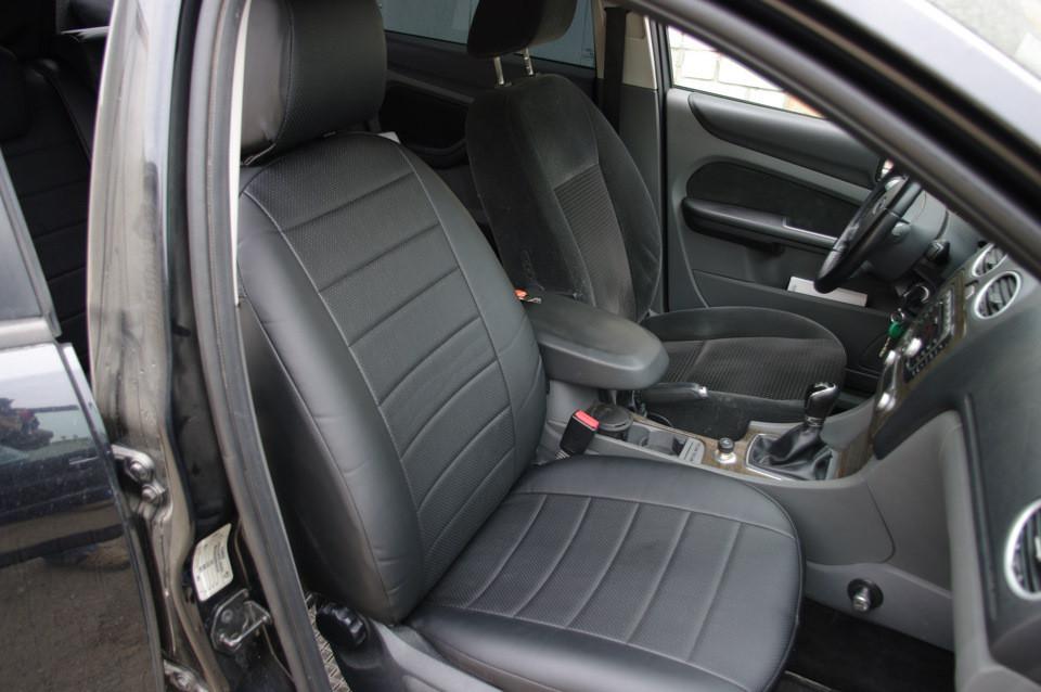 Чехлы на сиденья Субару Форестер (Subaru Forester) 2003-2008 г. (эко-кожа, модельные)