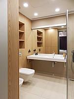 Шкаф, панели и полки из шпона  в ванную комнату на заказ