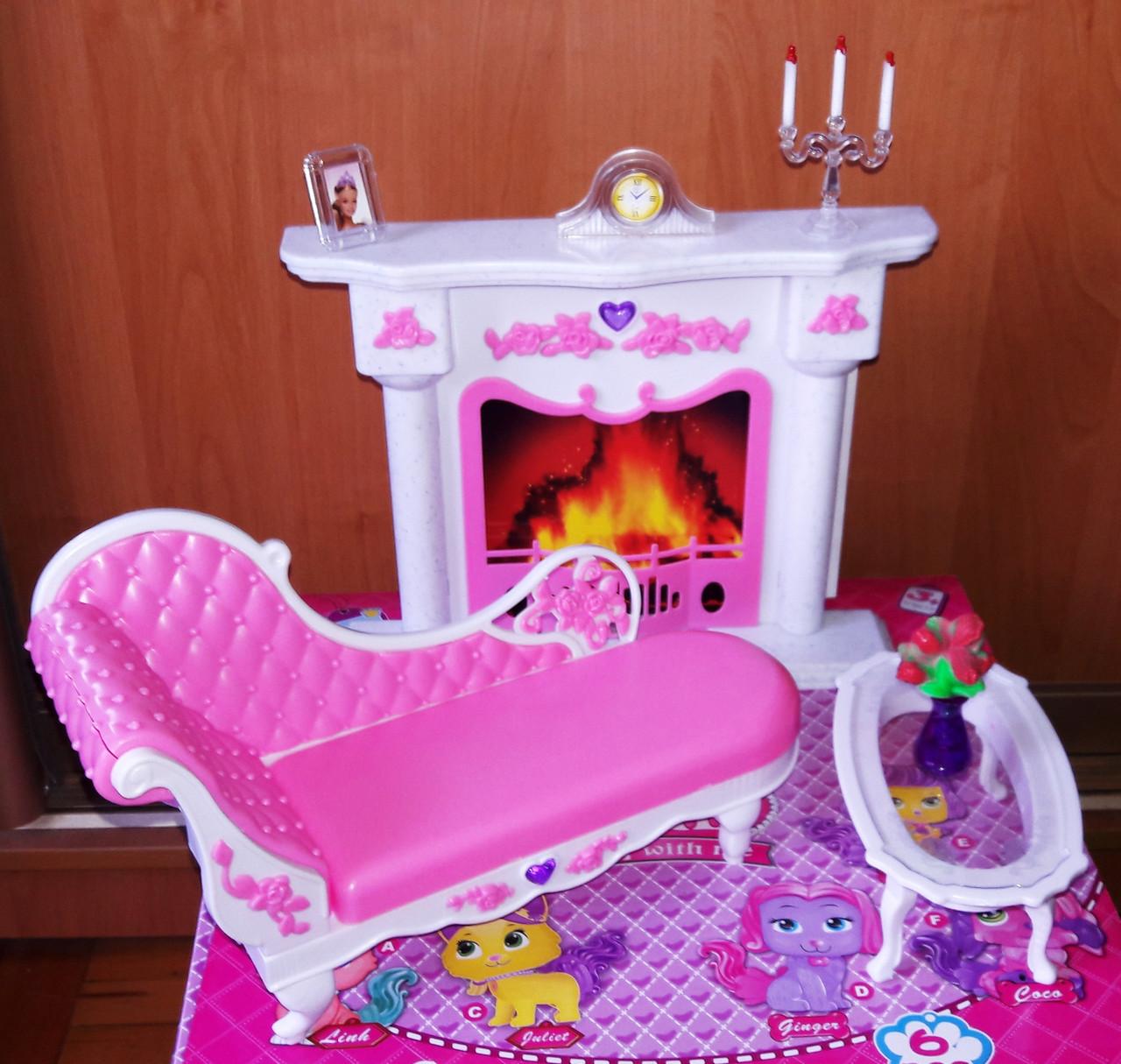Кукольная мебель Глория Gloria 2618 Камин , оттоманка, столик