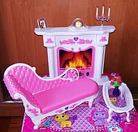 Кукольная мебель Глория Gloria 2618 Камин , оттоманка, столик, фото 1