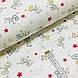 Ткань поплин Бэйби желто-голубой с красными звездами на белом (ТУРЦИЯ шир. 2,4 м) №34-105, фото 2