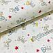 Ткань поплин Бэйби желто-голубой с красными звездами на белом (ТУРЦИЯ шир. 2,4 м) №34-105, фото 3