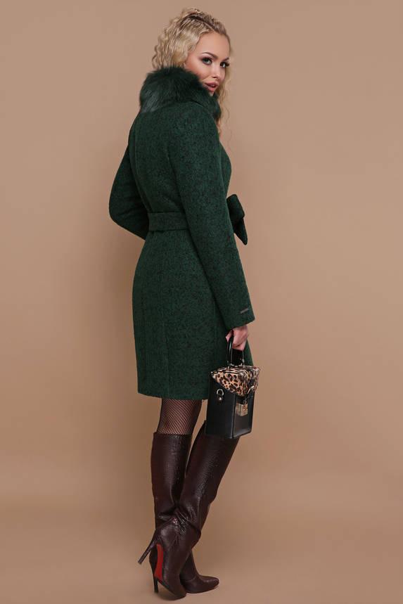 Зимнее пальто с меховым воротником изумрудное, фото 2