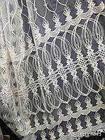 Тюль с вышивкой корд шнуром на фатине На метраж и опт, фото 1