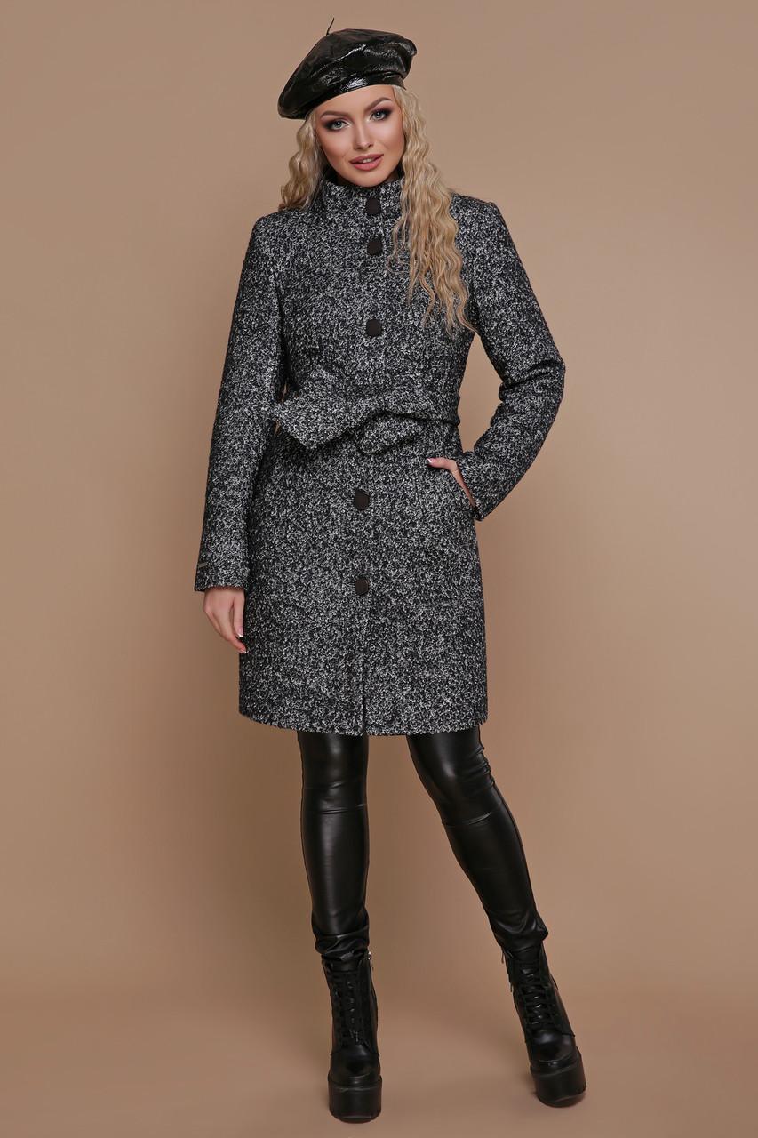 Зимнее женское пальто шерстяное черное