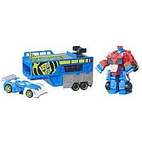 Heroes Transformers ТРАНСФОРМЕРЫ СПАСАТЕЛИ ГОНОЧНЫЙ КОМПЛЕКТ Rescue Bots Optimus Prime Racing Trailer, фото 1