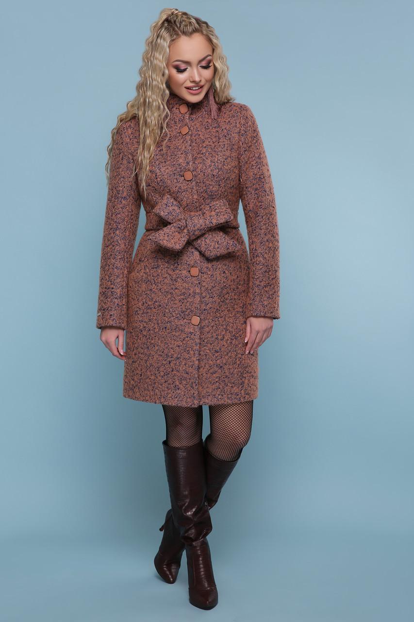 Зимнее женское пальто шерстяное розовое
