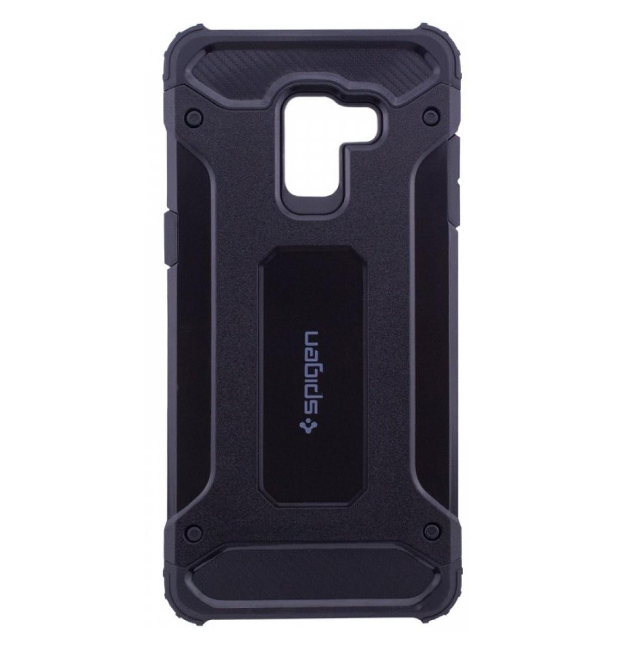 Бронированный противоударный TPU+PC чехол SPIGEN для Samsung Galaxy A6 Plus (2018) SM-A605F Black