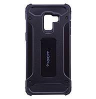 Бронированный противоударный TPU+PC чехол SPIGEN для Samsung Galaxy A6 Plus (2018) SM-A605F Black, фото 1
