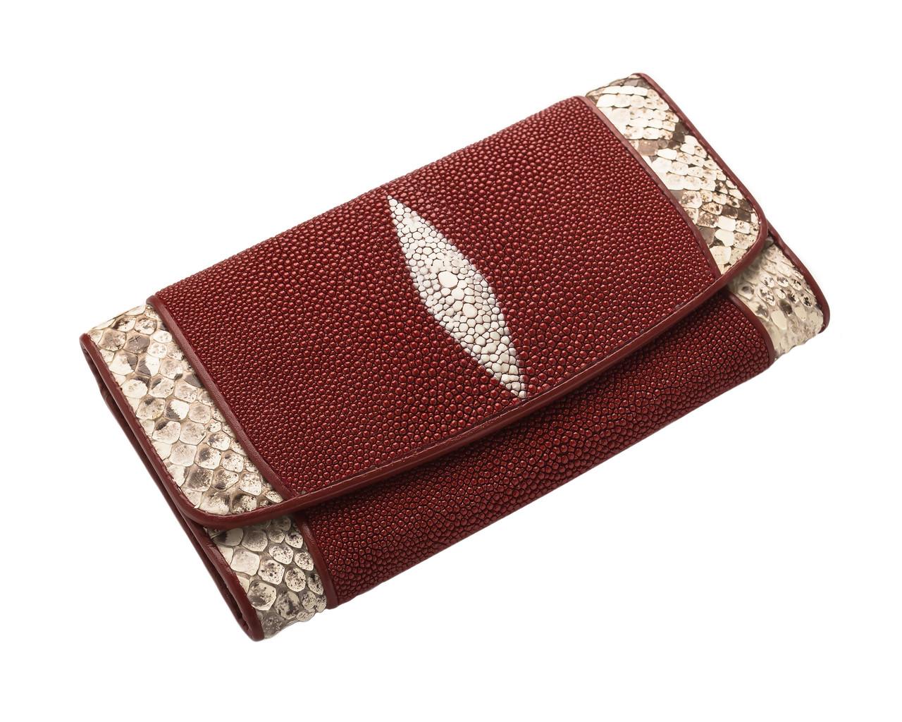 Гаманець зі шкіри ската з пітоном Ekzotic Leather Бордовий ( stw 114)