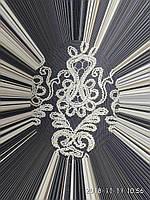 Тюль с золотистой вышивкой корд шнурком и люкэрсной ниткой на фатиновой основе На метраж и опт, фото 1