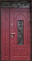 Двери входные Покраска-МДФ с встроенным стеклопакетом с элементами ковки