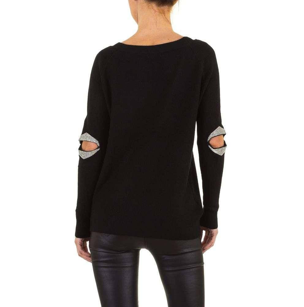 Женский джемпер с дырками на локтях бренда Moewy (Европа), Черный