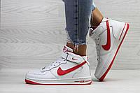 Кроссовки женские Nike Air Force зимние кожа+резина молодежные стильные модные высокие (белые), ТОП-реплика