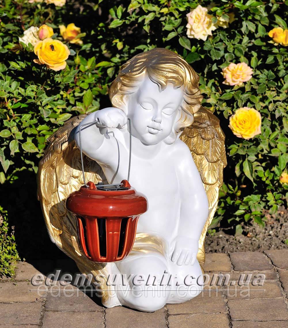 Фигура Ангел с фонарем малый