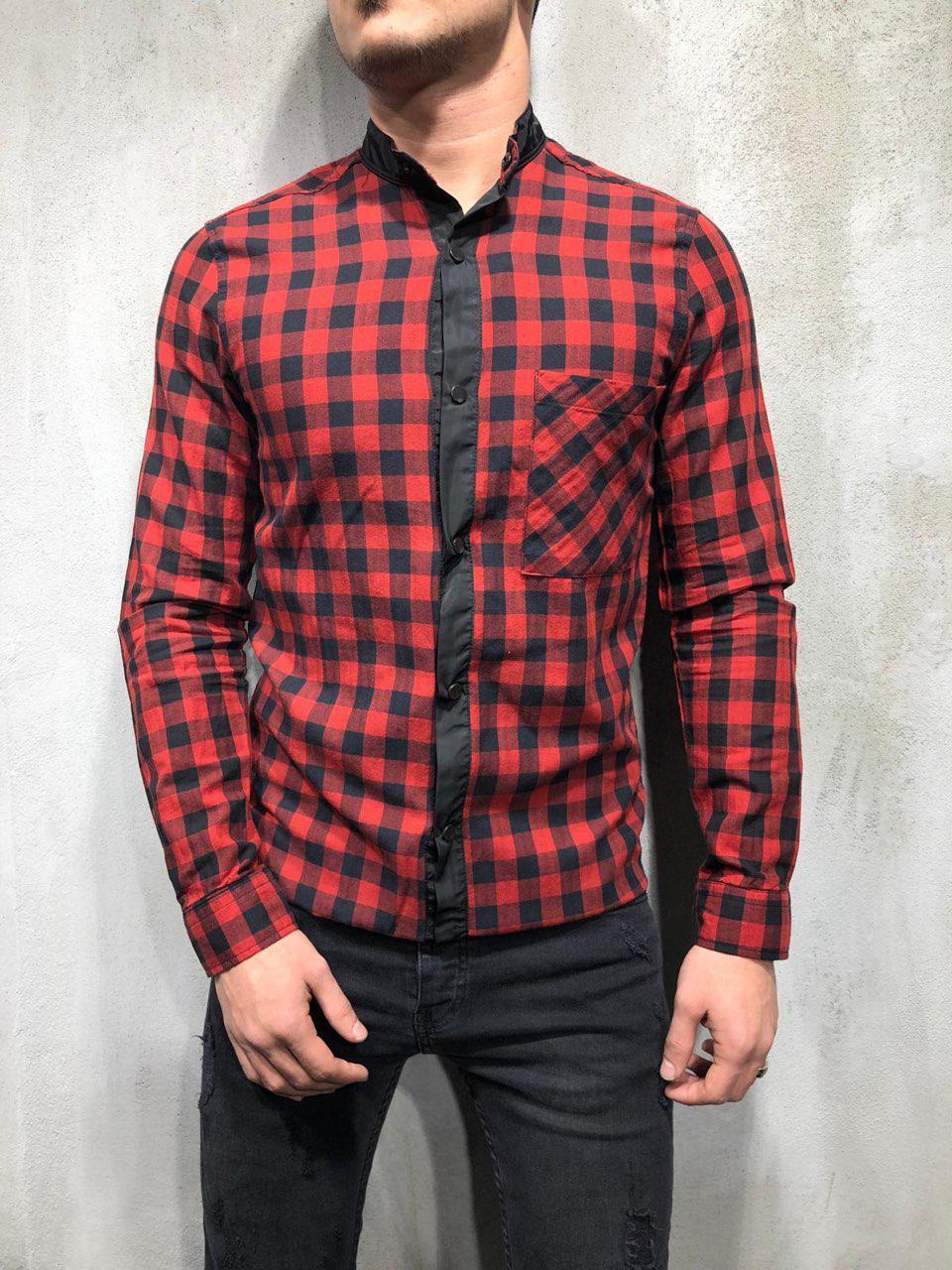0f8f22d3c64 Мужская рубашка в клетку красно-черная G1009 - Компания
