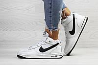 Кроссовки женские Nike Air Force зимние кожа+резина молодежные удобные стильные высокие (белые), ТОП-реплика