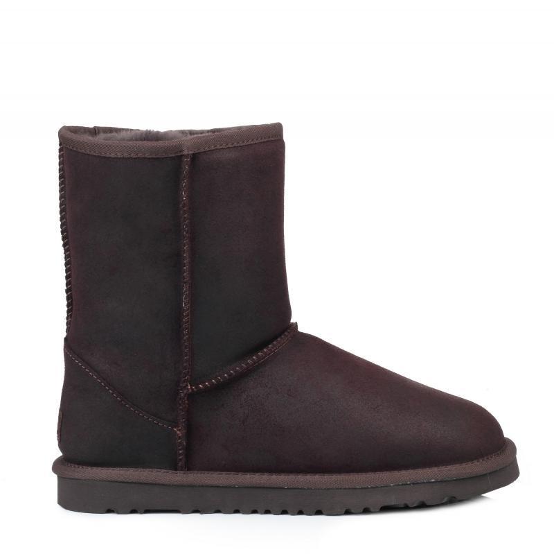 Угги кожаные мужские UGG Classic Short Leather Chocolate- коричневые, Австралия