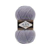 Пряжа для вязания Alize Lanagold 200 серый с сиреневым оттенком (Ализе Лана голд)