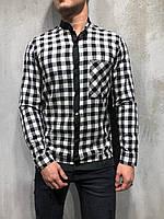 Мужская рубашка в клетку бело-черная G1009
