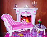 Мебель для кукол Gloria Глория 2618 Уютная гостиная Барби с камином, диваном, журнальным столиком