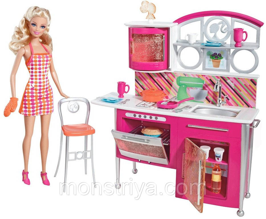 """Игровой набор Barbie """"Накрываем на стол"""" , кукла + кухня"""