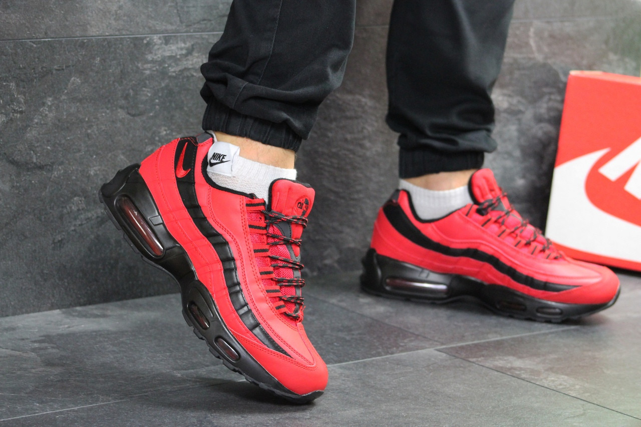 e9d8cd95 Мужские кроссовки Nike 95 зима яркие стильные на меху на каждый день ( красные),