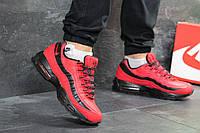Мужские зимние кроссовки Nike Air Max 95 яркие повседневные кроссовки в стиле найк красные с черными вставками