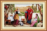 """Набор для рисования камнями (холст) """"Иисус, Марфа и Мария"""" LasKo TL024 (100х60см)"""