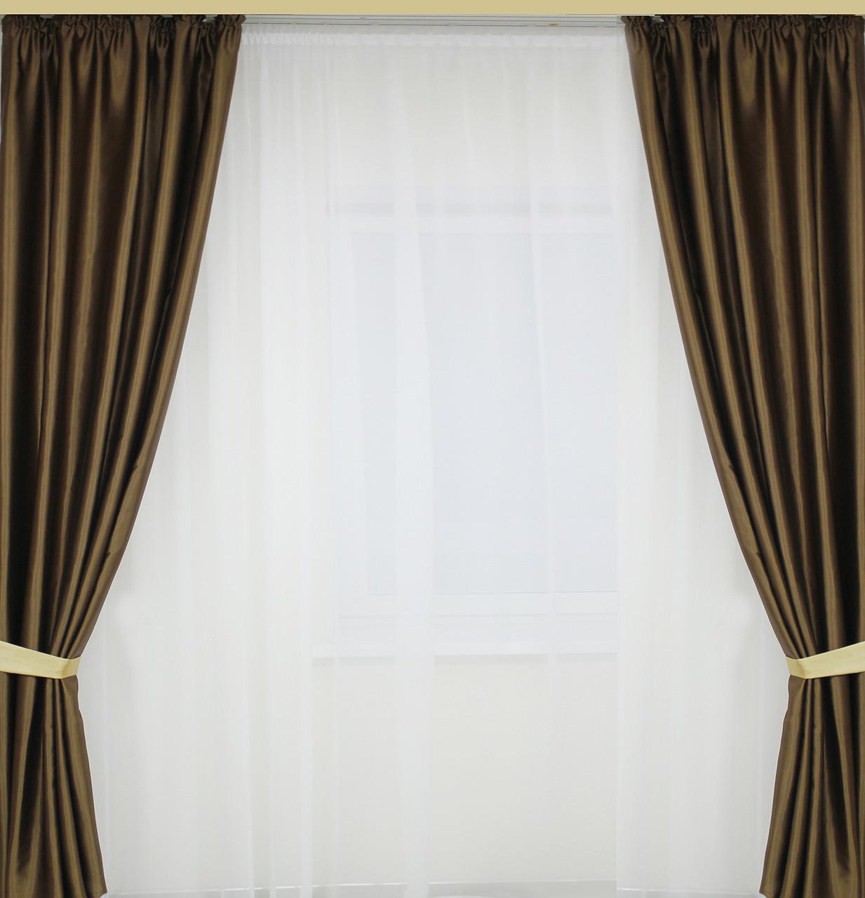 Готовые шторы 2 полотна в комплекте однотонные(цвета в ассортименте)