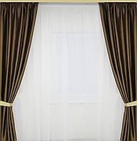 Готовые шторы 2 полотна в комплекте однотонные, фото 1