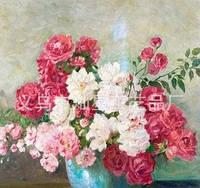 """Картина своими руками """"Розовые цветы в вазе"""""""