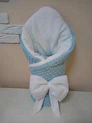 Зимний плюшевый конверт одеяло на выписку Минки с флисом голубой