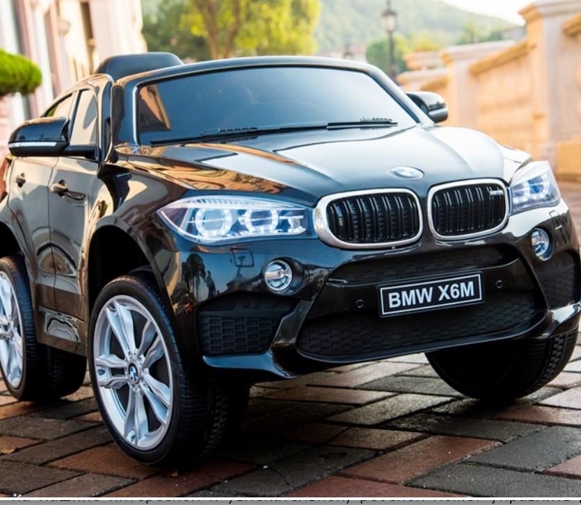 Двомісний дитячий електромобіль Джип BMW X6, Шкіра, EVA гума, Амортизатори, дитячий електромобіль