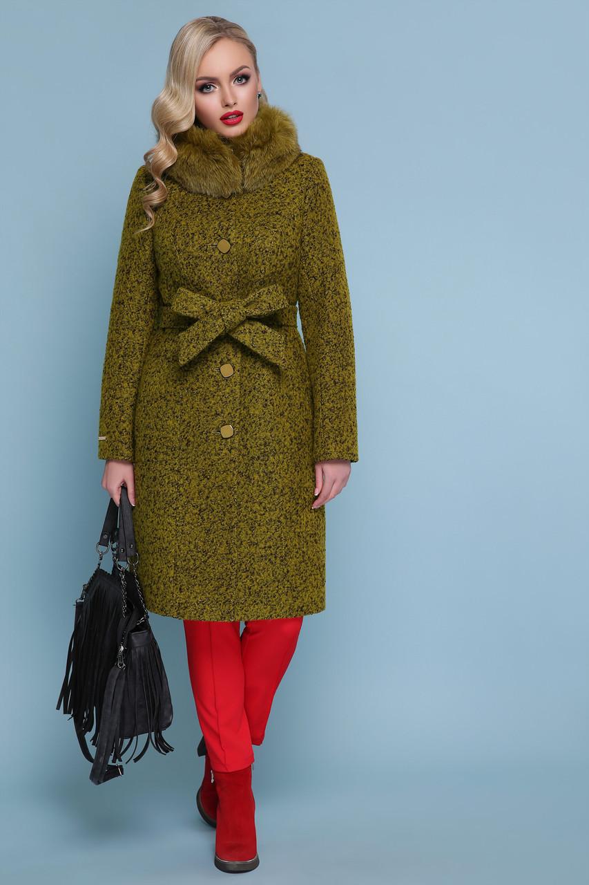 Зимнее женское пальто с натуральным мехом хаки