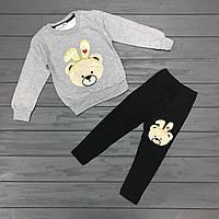 Детский комплект нарядный тёплый (начёс) для девочек оптом р.1-2-3-4 года