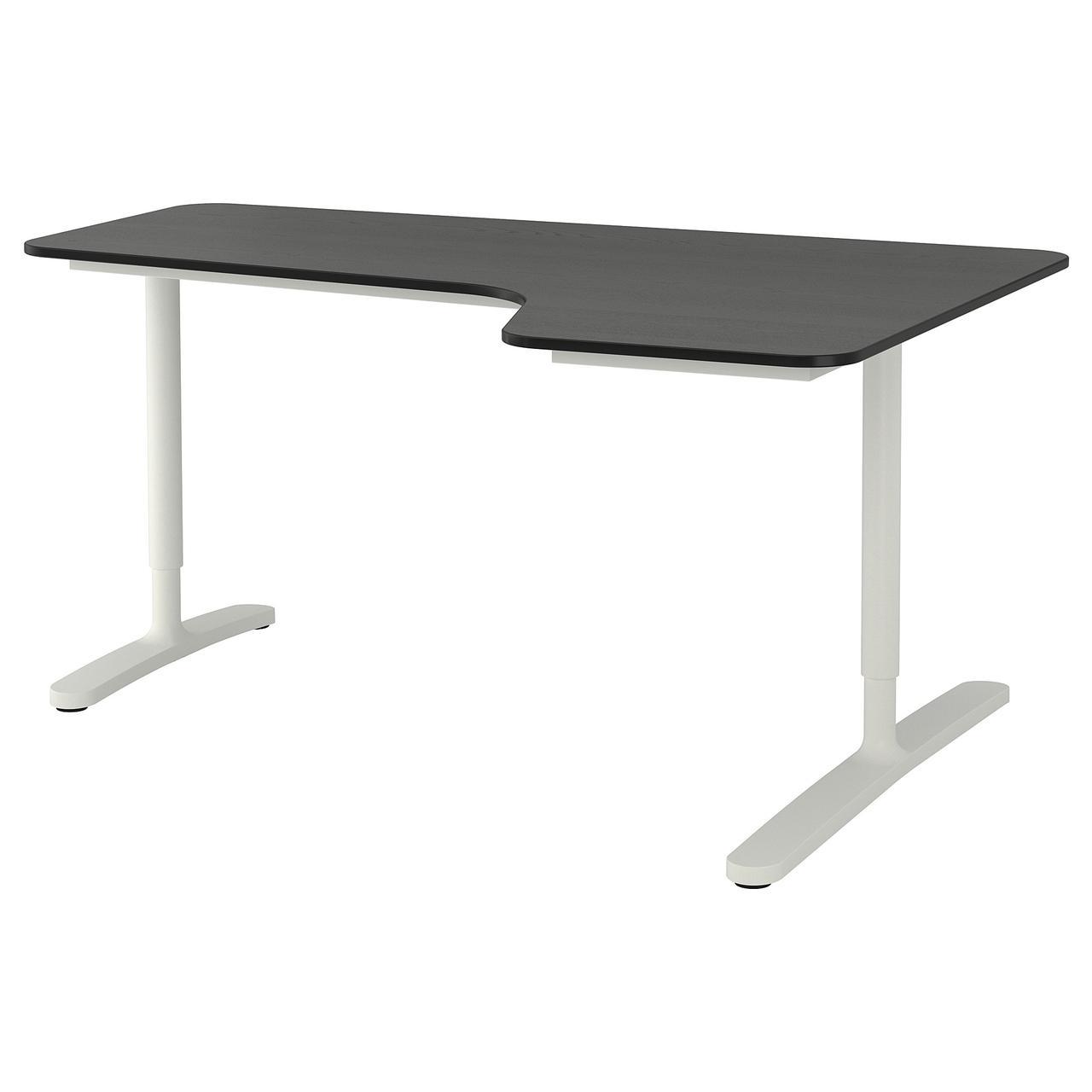 Компьютерный стол IKEA BEKANT 160x110 см белый черный 992.829.01