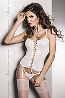 Корсет под латекс с пажами BES CORSET white XXL/XXXL - Passion Exclusive, стринги, шнуровка, фото 1