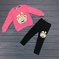 Детский комплект нарядный тёплый (начёс) для девочек оптом р.1-2-3-4 года, фото 1