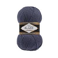 Пряжа для вязания Alize Lanagold 381 морская волна (Ализе Лана голд)