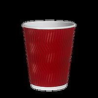 Стакан бумажный гофрированный Красный волна 300мл. 20шт/уп (1ящ/30уп/600шт) (КР80)