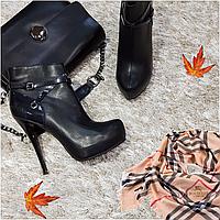 Ботинки женские демисезонные весна-осень искусственная кожа на каблуке черные 40