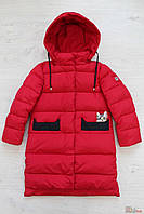Пальто-пуховик красивого ярко-красного цвета для девочки (134 см.)  Snowimage 6901250492482